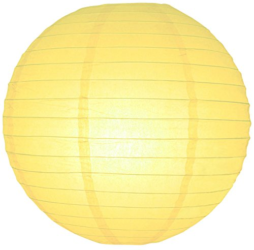 "Quasimoon 24"" Light Yellow Even Ribbing Round Paper Lantern (10 PACK) by PaperLanternStore"