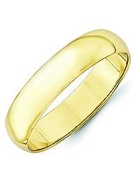 10K Yellow Gold 5mm Lightweight Half Round Domed Wedding Band