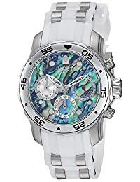Invicta Men's 'Pro Diver' Quartz Stainless Steel and Polyurethane Casual Watch, Color: White(Model: 24829)