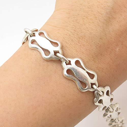 VTG Mexico 925 Sterling Silver Modernist Link Bracelet 7