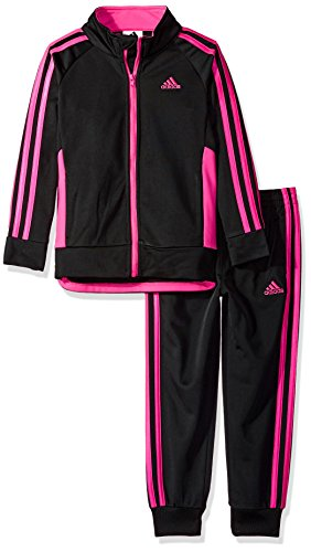adidas Girls' Little Zip Jacket and Pant Set, Black Adi, 6X