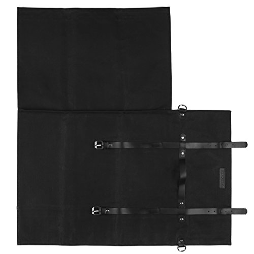 Chef Knife Roll Bag - Handmade Waxed Canvas and Leather Knife Bag Stores 10 Knives + Zipper Pocket and Shoulder Strap (Black) by Becken Leather Co. (Image #4)