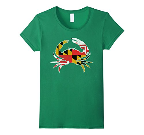 Womens Maryland Vintage Flag Shirt State Flag Blue Crab T Shirt Medium Kelly Green