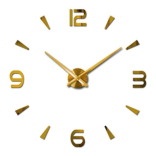 3D DIY Wall Clock Mirror Surface Wall Stickers Big Size Luxury Wall Decor  Clokcs (Gold)