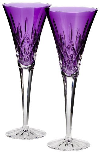 Waterford Toasting Flutes, Set of 2 Lismore Amethyst -