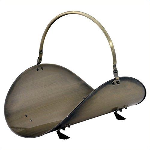 Uniflame 19 Inch Antique Brass Woodbasket - Antique Log Holder