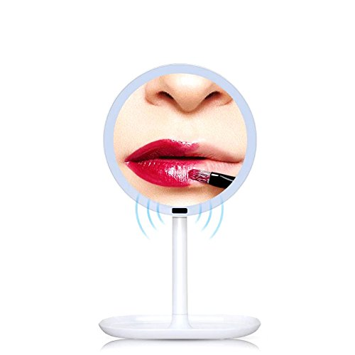 Assembly Detector (LED Lighted Vanity Makeup Mirror,USB Charging or USB Cable Sullpy Power, 360° Adjustable Stand for Makeup (Induction mirror))