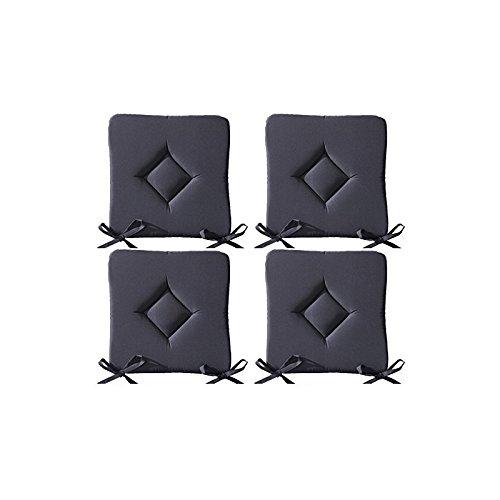 Set di 4 cuscini da sedia imbottiti - cuscini da esterno - motivo trapuntato a rombo - 40x40x3, 5 cm - grigio