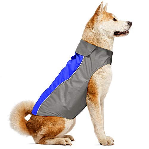 Vizpet Dog Raincoat and Reflective Dog Jacket Sport Vest, Warm and Comfortable Clothes - 6 for Small Medium Large Dogs (Blue-M)