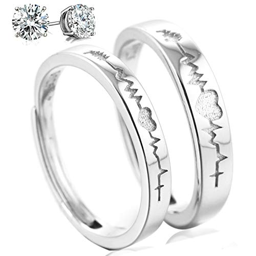 Aeici 925 Sterling Silver Couple Rings Cubic Zirconia Wedding Ring for His & Her Promise Ring Adjustable (Heartbeat Ring) ()
