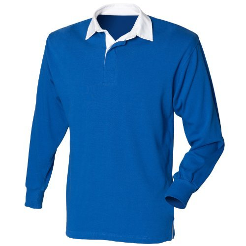 Front Row Big Boys' long sleeve plain rugby shirt Royal M Front Row Rugby Shirt