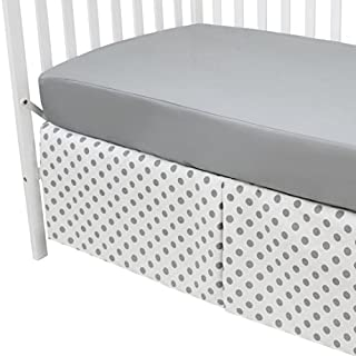 American Baby Company 100% Cotton Percale Fitted Crib Sheet and Skirt, Gray Dot, for Boys and Girls