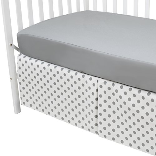 American Baby Company 100% Cotton Percale Fitted Crib Sheet and Skirt, Gray Dot, for Boys and ()