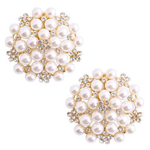 Fashion Pcs 2 Clips Cw Rhinstones Elegantpark Ae Pearl Zapato Accesorios Dorado Mujer Tdnqpz