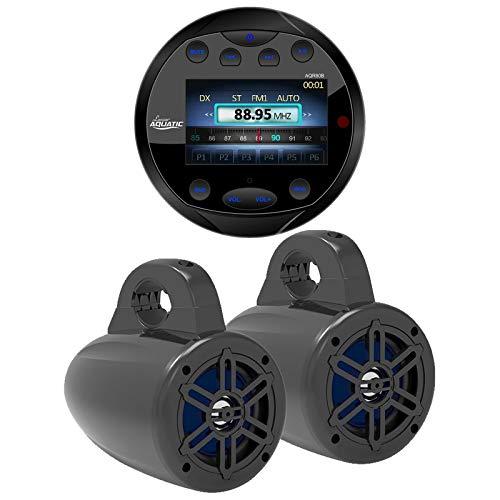 """Lanzar Waterproof Bluetooth Marine Digital Media Receiver Stereo Round Black Radio, 4"""" Waterproof Marine Wakeboard 300 Watt Tower Speakers (Black) - Pair"""