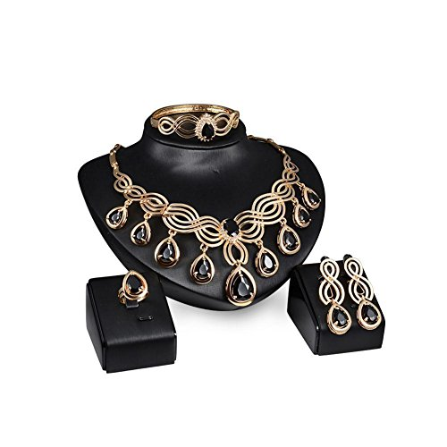 Fashion Charm Chunky Crystal Statement Bib Chain Choker Pendant Necklace Sets with adjustable ring and braclet (Black)