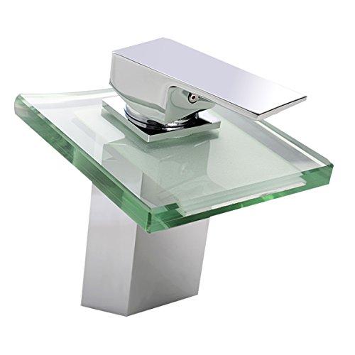 Glas Wasserhahn Wasserfall mit Glas Waschtischarmatur Waschbecken Armatur Badezimmer Bad Küchearmaturen Spültisch (ohne LED Licht)