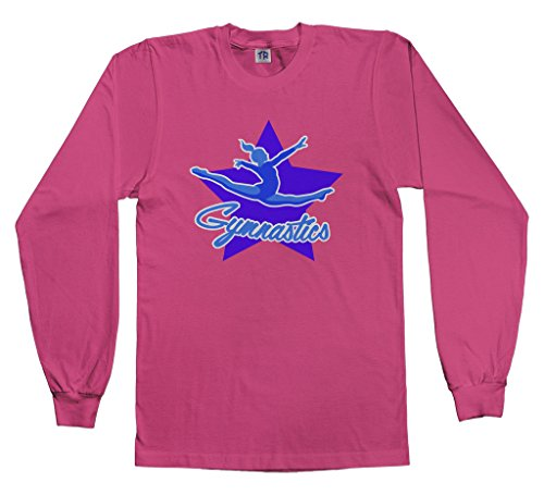 Long Sleeve Youth Star - Threadrock Big Girls' Gymnastics Star Youth Long Sleeve T-Shirt M Fuchsia