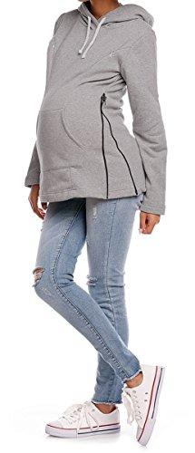 Happy Mama. De Las Mujeres Maternidad Enfermería sudadera con capucha ajustable sudadera cremalleras. 356P gris