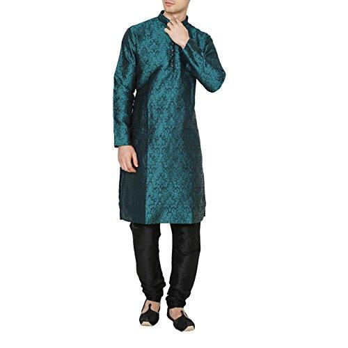 RUCHI MART Men's Ethnic Wedding Wear Kurta Pajama Jacquard Silk Churidar Dress by RUCHI MART