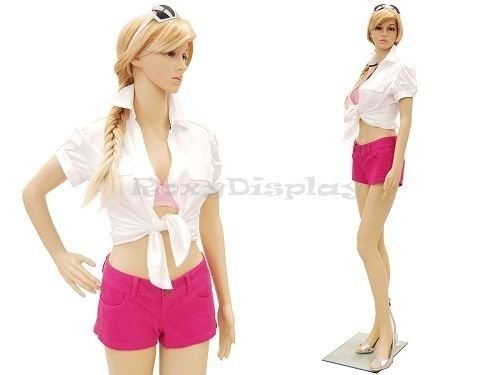 ROXYDISPLAY Plastic Full Body Flesh Tone Female Mannequin Turnable Head With Base And Free Wigs