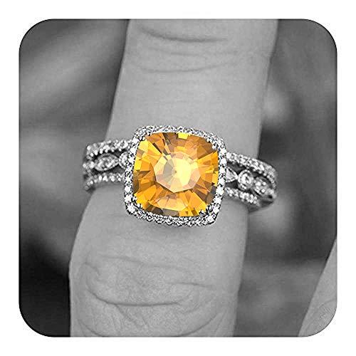 Dabangjewels 3 Ct Cushion Cut Citrine & Diamond Art Deco Wedding Trio Halo Ring Set 14k White Gold Plated