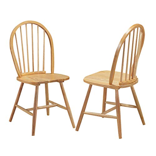 (Classic Style Windsor Dining Chair Wood Natural Kitchen Room Spindle Back Design Set of 2)