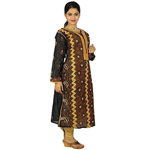 India étnicas regalo vestido de las mujeres bordado Chikan Kurti vertical del diseñador para ella Negro y marrón