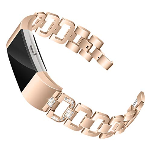 Cathy Clara Smart Watch Band Wristband Luxury Diamond Stainless Steel Bracelet Replacement Band Straps for Fitbit Charge 2
