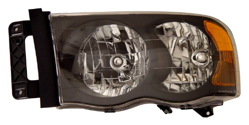 DODGE RAM 02-05 CRYSTAL HEADLIGHTS BLACK AMBER