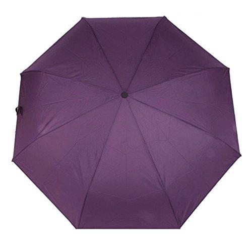 FakeFace Damen Herren Fashion Faltbarer Regenschirm UV-Schutz Sonnenschirm Folding Umbrella Windproof Taschenschirm Mini Schirm mit Auf-zu-Automatik für Alltag Outdoor Ausflug Camping Reise (Violett)