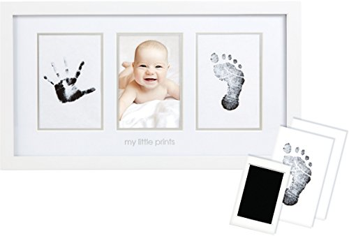 Pearhead Babyprints Newborn Baby Handprint and Footprint Photo Frame Kit with an Included Clean-Touch Ink Pad to Create Baby's Prints - A Perfect Baby Shower Gift (Photo Frame Baby Boy)