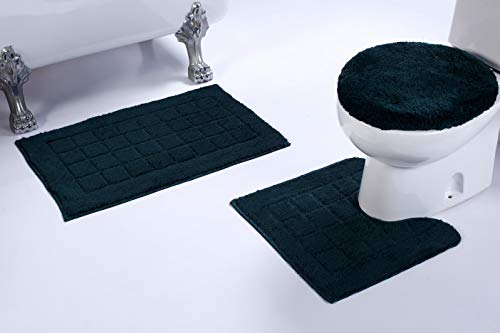 (Mk Home 3pc Non-Slip Hunter Green Bath Set for Bathroom with Bath Rug, Contour Mat and Lid Cover New #)