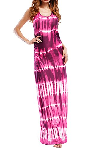 WIWIQS Women`s Tie Dye Ombre Dress Tank Top Casual Maxi Long Dress Wine Red and Rose M