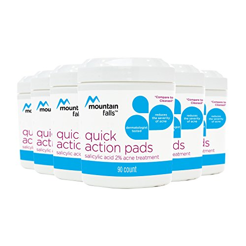 Mountain Falls Quick Action 2% Salicylic Acid Acne Medication Pads, Compare to Clearasil, 90 Count (Pack of 6) (Pad Quick Swipe)