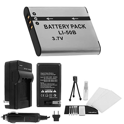 LI-50B High-Capacity Replacement Battery with Rapid Travel Charger for Olympus SP-720UZ SP-800UZ SP-810UZ - UltraPro Bonus Included: Camera Cleaning Kit, Camera Screen Protector, Mini Travel Tripod