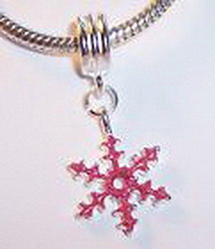 Enamel Snowflake Charm - Glamorise Beads #13657 Christmas Pink Snowflake Enamel Holiday Dangle Bead for European Charm Bracelets