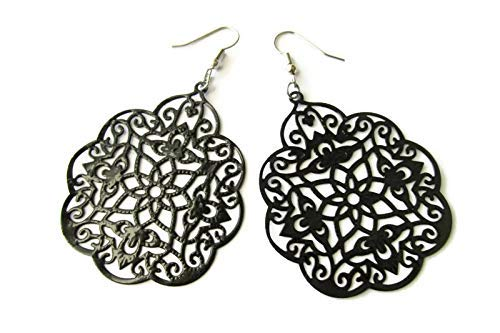 Large Super Lightweight Black Moroccan Style Filigree Hand Painted Earrings for Women