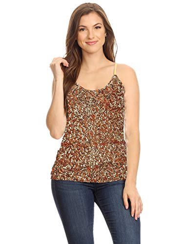 Anna-Kaci Womens Shimmer Sequins Stretchy Spaghetti Strap Camisole Vest Tank Tops, Gold, Small