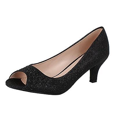 Bonnibel Wonda-2 Women's Peep Toe Low Heel Glitter Slip On Dress Pumps, Color:Black, Size:7