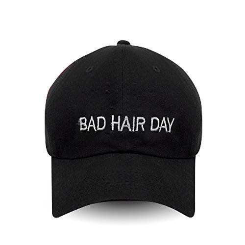 Bad Hair Day Embroidered Dad Hat 100% Cotton Baseball Cap For Men And Women (Black)