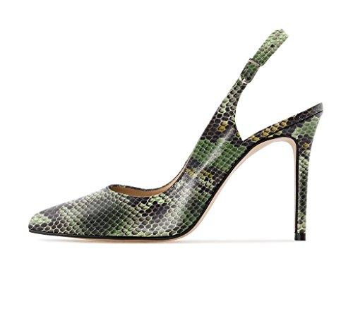 Chaussures Cheville l'arrière 10cm Soireelady Lanière Aiguille Ouvertes green à Z Femmes Escarpins wqqHIt