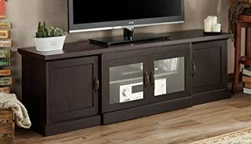 Amazon Com 65 Inch Tv Stand Espresso Wood Shaker Style Cabinet