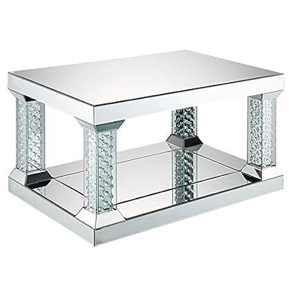 Coffee Table 36 X 24.Amazon Com Acme Nysa 36 X 24 Glass Top Mirrored Coffee Table
