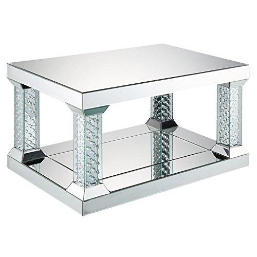 "Acme Furniture ACME Nysa 36"" x 24"" Glass Top Mirrored Coffee"