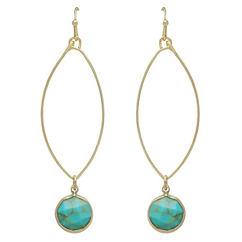 (SULLEMM Round Gemstone Dangle Open Oval Hoop Fish Hook Women's Earring (Turquoise))