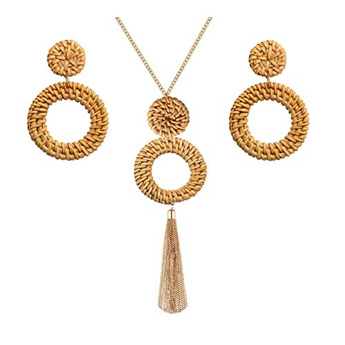 Long Necklaces for Women Handmade Rattan Pendant Necklace Earrings Set Boho Fringe Tassel Necklaces Statement Rattan Jewlery Set (Brown 2) ()