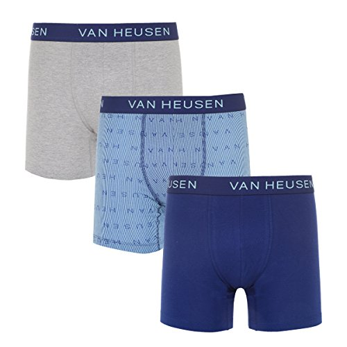 Van Heusen Mens 3 Pk Stretch Boxer Brief Heather Grey/Chili Pepper Print/Patriot Blue ()