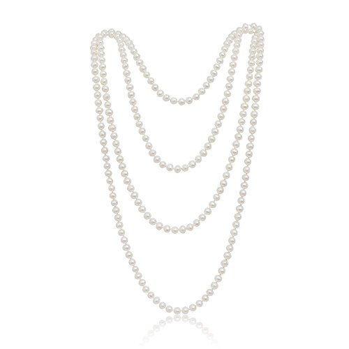 5.5-6mm White Freshwater Cultured Pearl Strand Necklace, 50