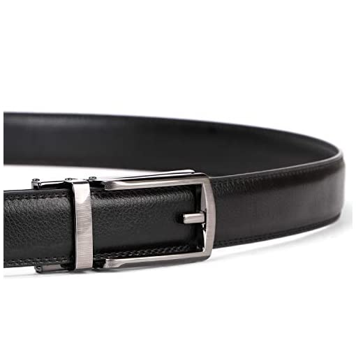 Werforu Leather Ratchet Dress Belt For Men Perfect Fit Automatic Buckle